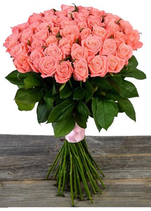 Розовая роза 60 см.