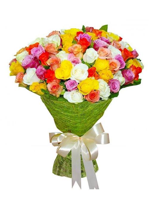 101 разноцветная роза